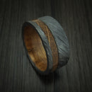 Black Zirconium Hardwood Band With Inlay And Sleeve Custom Made