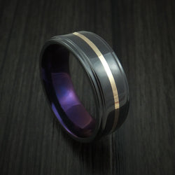 Black Zirconium with 14k Yellow Gold and Anodized Sleeve Custom Made Band