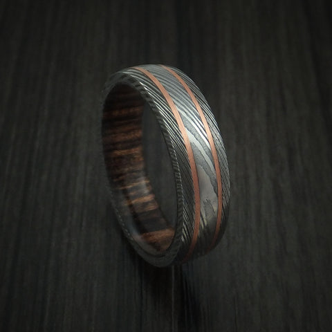 Damascus Steel Ring with Copper Inlays and Heritage Brown Hard Wood Sleeve