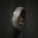 Damascus Steel Ring with Copper Inlays and Hardwood Sleeve