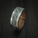 Titanium Ring with Carbon Fiber Inlay and Teak Hardwood Sleeve Custom Made