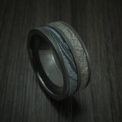 Black Zirconium M3 Mokume And Gibeon Meteorite Ring Custom Made Band