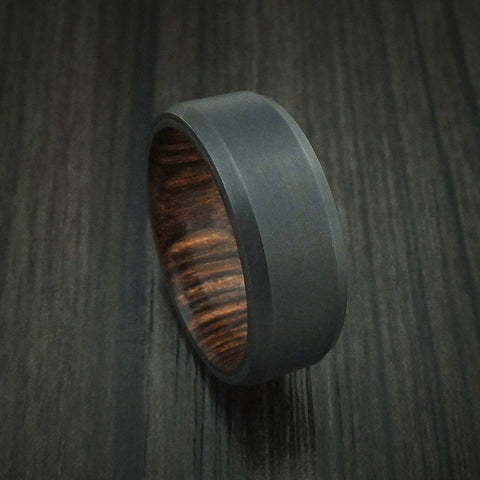 Black Zirconium Ring with Heritage Brown Hardwood Interior Sleeve Custom Made