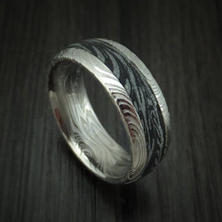 Kuro Damascus Steel and Black/White M3 Mokume Ring