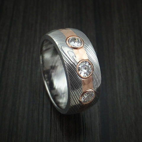 Damascus Steel and Hammered 14K Rose Gold with Diamonds Custom Made Band