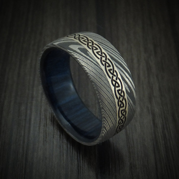 Damascus Steel Celtic Ring With 14K White Gold Inlay And Hardwood Sleeve Custom Made Band