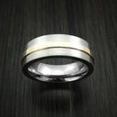 Titanium Ring with Raised 14k Yellow Gold Inlay Custom Made Band
