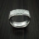 Cobalt Chrome Modern Style Rock Hammer Finish Band Square Ring Custom Made