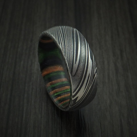 Kuro Damascus Steel Ring with Camo Wood Hardwood Sleeve Custom Made Wood Band