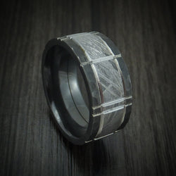 Black Zirconium and Meteorite Crosshatch Design Ring Custom Made Band