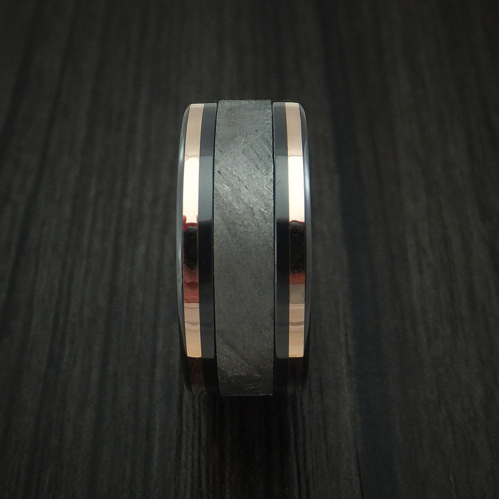 Black Zirconium and Gibeon Meteorite Ring with 14K Rose Gold Inlays Custom Made Band