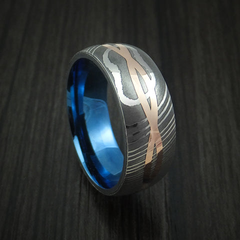 Damascus Steel 14K Rose Gold Celtic Knot Ring Infinity Design Anodized Wedding Band