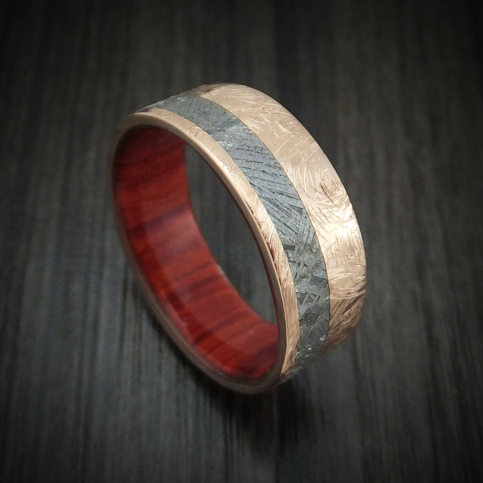 Rose Gold And Gibeon Meteorite Band With Red Heart Wood Sleeve Custom Made