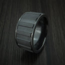 Black Zirconium Gear Shape Spinner Wide Ring Custom Made Band