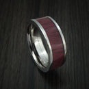Titanium Ring with Purple Heart Wood Hardwood Custom Made Band