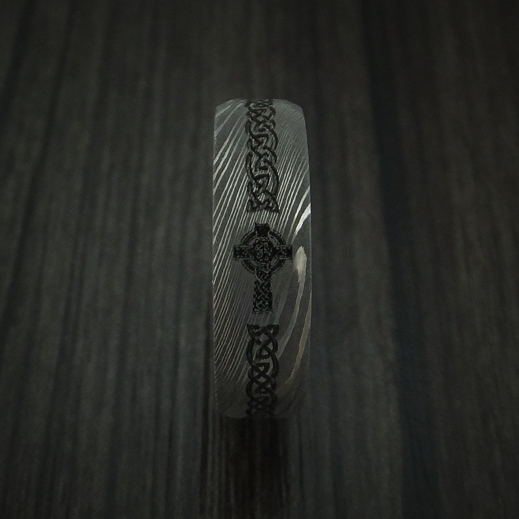 Damascus Steel Celtic Irish Cross Ring Christian Band Carved Ring