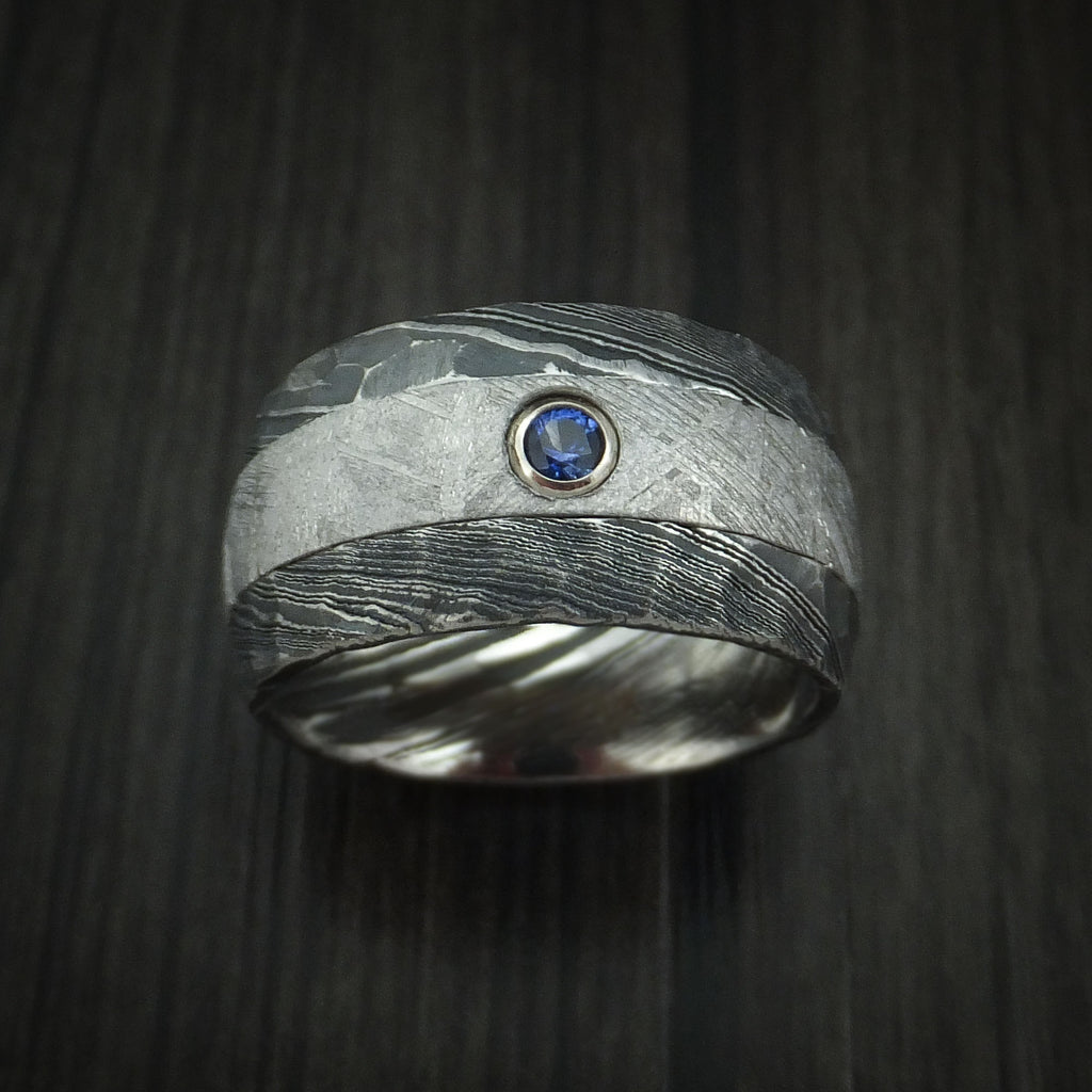 Kuro Damascus Steel and Gibeon Meteorite Hammered Ring with Sapphire set in Gold Custom Made Band