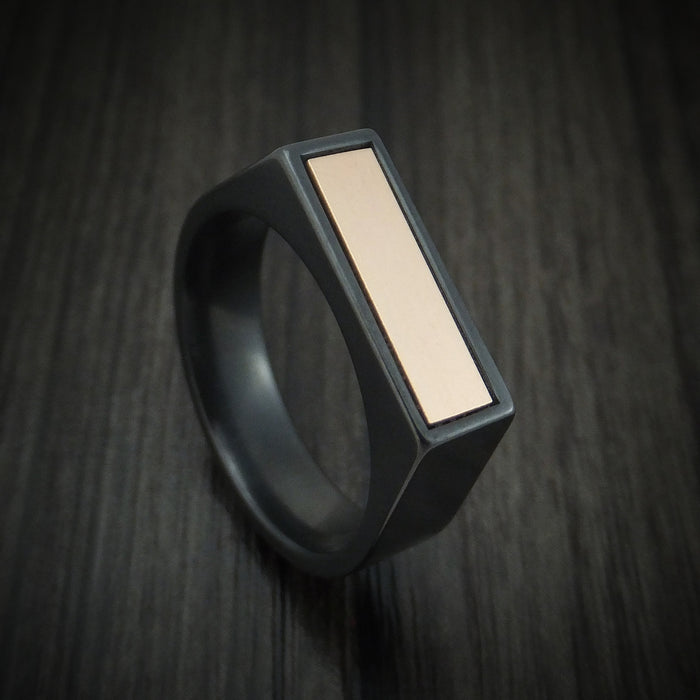 Black Zirconium Signet Ring with 14K Rose Gold Inlay