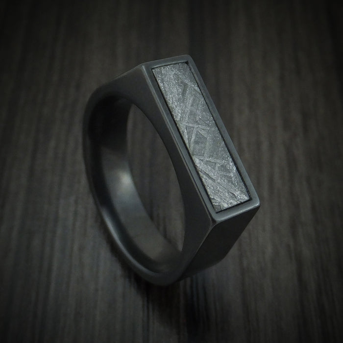 Black Zirconium Signet Ring with Gibeon Meteorite Inlay