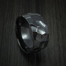 Black Zirconium Ring Traditional Style Band Hammered Finish Custom Made