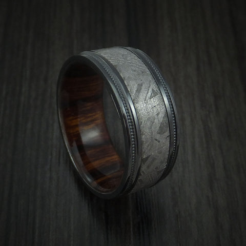 Gibeon Meteorite in Black Zirconium Wedding Band with Hardwood Sleeve
