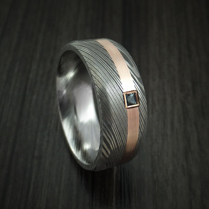 Damascus Steel Ring with Rose Gold and Aquamarine Stone Custom Made
