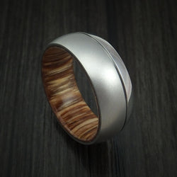 Cobalt Chrome Ring with Teak Hardwood Sleeve Custom Made Band