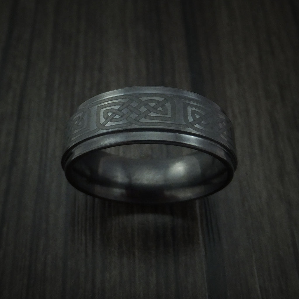 Black Ceramic Celtic Ring Custom Made Band