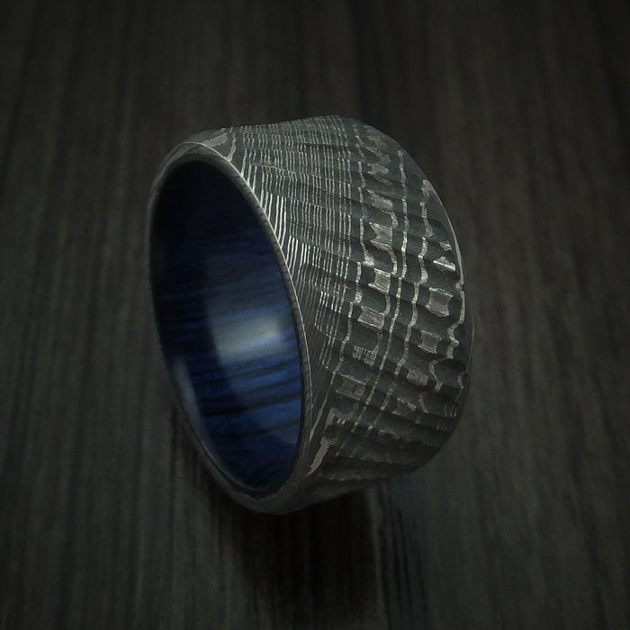 Damascus Steel Tree Bark Carved Ring with Blueberry Hardwood Custom Made Band