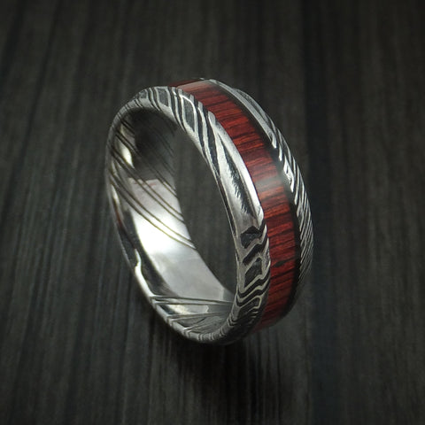 Kuro Damascus Steel Ring with Cocobolo Hardwood Inlay Custom Made Band