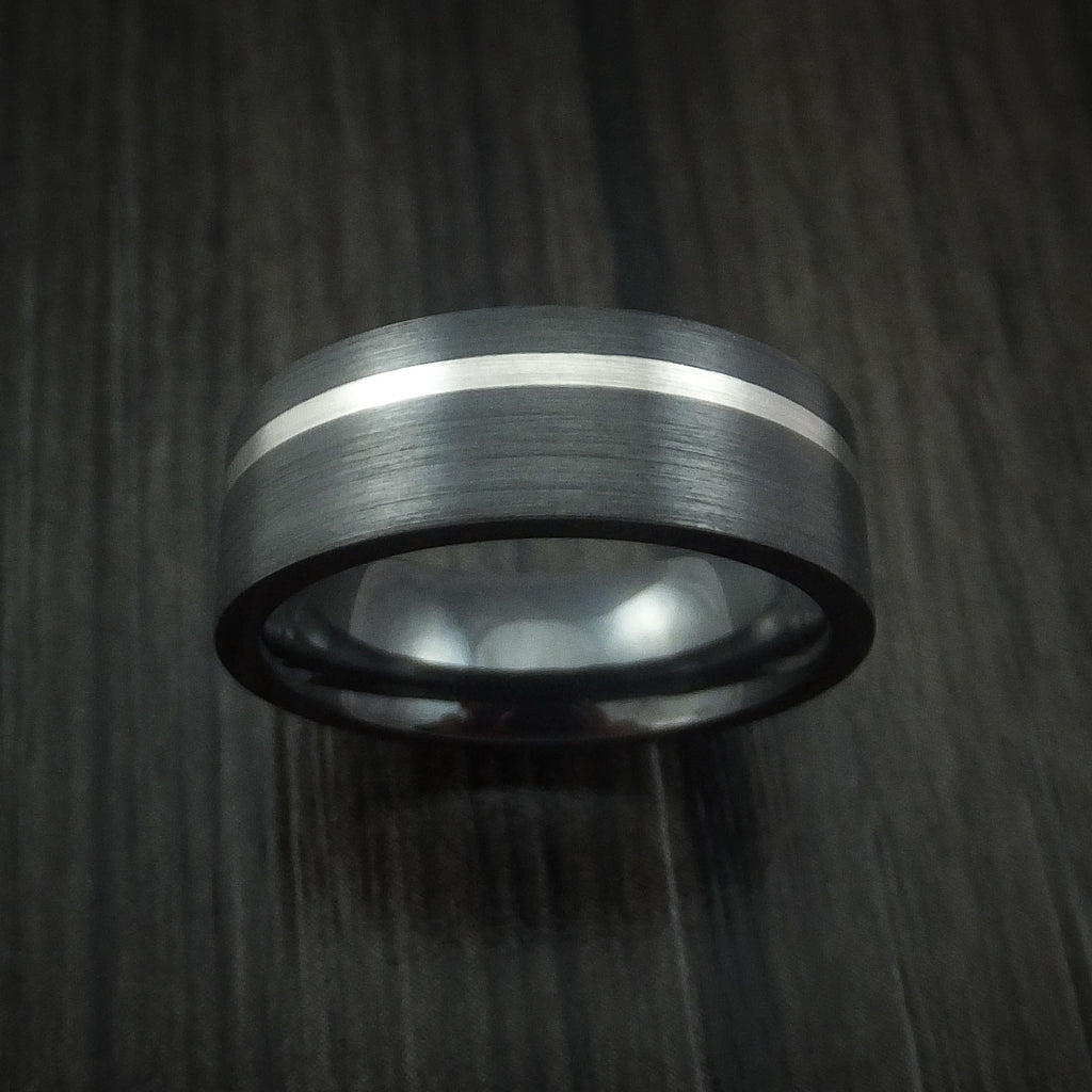 Black Zirconium and Platinum Ring Custom Made Band