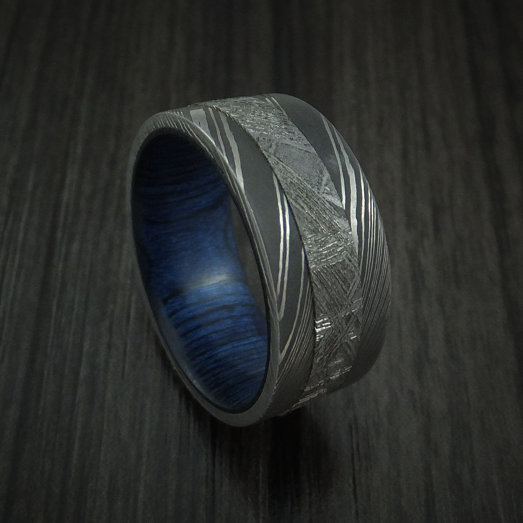 Damascus Steel Ring with Gibeon Meteorite and Blueberry Hardwood Custom Made Band