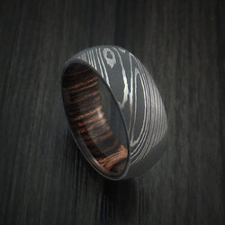 Damascus Steel Ring with Hardwood Interior Sleeve Custom Made Men's Wedding Ring