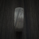 Damascus Steel Ring with Interior Wood Sleeve Custom Made