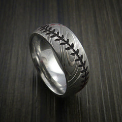 Damascus Steel Baseball Ring with Polish Finish - Revolution Jewelry  - 11
