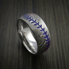 Damascus Steel Baseball Ring with Polish Finish - Revolution Jewelry  - 7