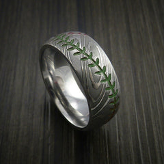 Damascus Steel Baseball Ring with Polish Finish - Revolution Jewelry  - 5