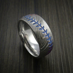 Damascus Steel Baseball Ring with Polish Finish - Revolution Jewelry  - 6
