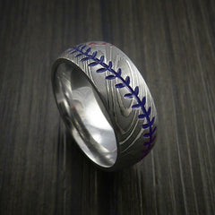 Damascus Steel Baseball Ring with Polish Finish - Revolution Jewelry  - 8