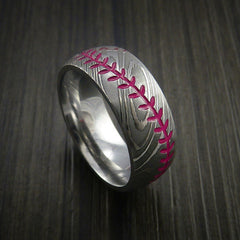 Damascus Steel Baseball Ring with Polish Finish - Revolution Jewelry  - 10