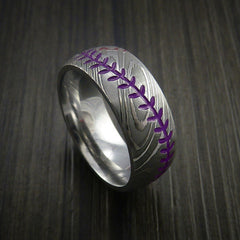 Damascus Steel Baseball Ring with Polish Finish - Revolution Jewelry  - 9