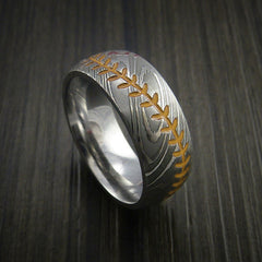 Damascus Steel Baseball Ring with Polish Finish - Revolution Jewelry  - 4