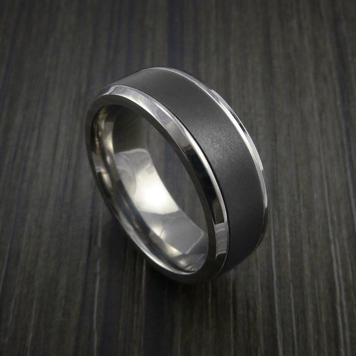Elysium Black Diamond and Titanium Ring or Wedding Band