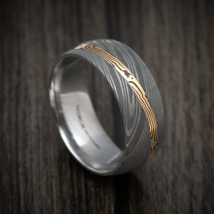 Damascus Steel Ring With Diagonal Mokume Shakudo Inlay Custom Made