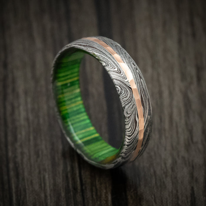 Marble Kuro Damascus Steel Ring with Hammered Gold Inlay and Wood Sleeve