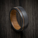 Black Zirconium Guitar String Ring With Whiskey Barrel Hardwood Sleeve Custom Made Band