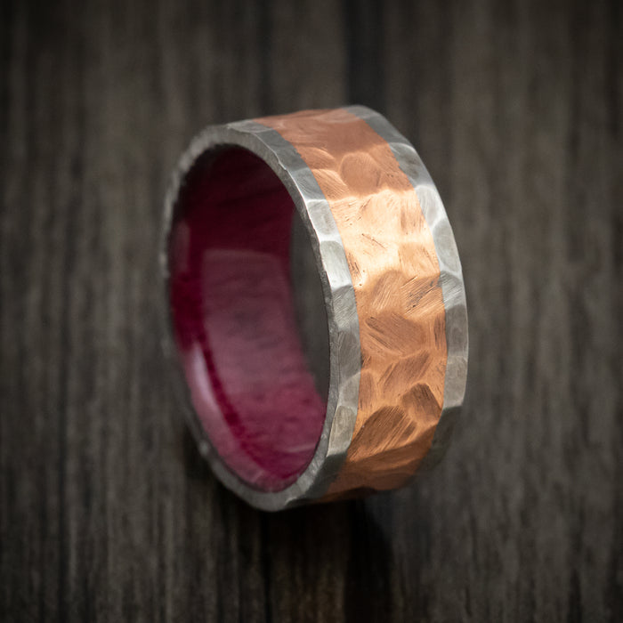 Titanium and Copper Ring Rock Finished with Wood Sleeve Custom Band