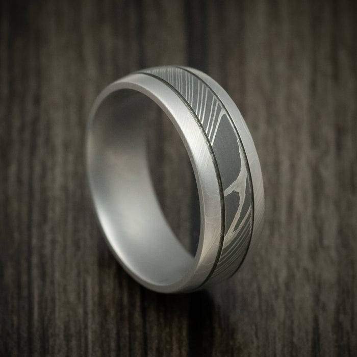 Damascus Steel Two-Tone Ring Wedding Band Genuine Craftsmanship