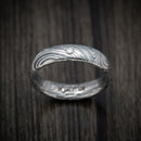 Marble Kuro Damascus Steel Ring with Round Diamond Custom Made