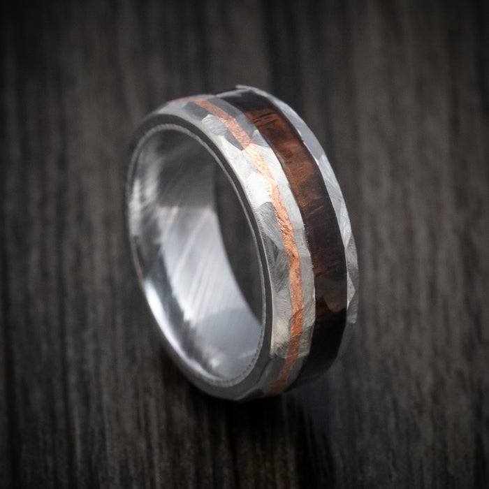 Titanium and Hardwood Ring with Copper Inlay and Damascus Steel Sleeve
